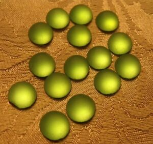 ROUND FROSTED PERIDOT 11MM VINTAGE GLASS CABOCHONS