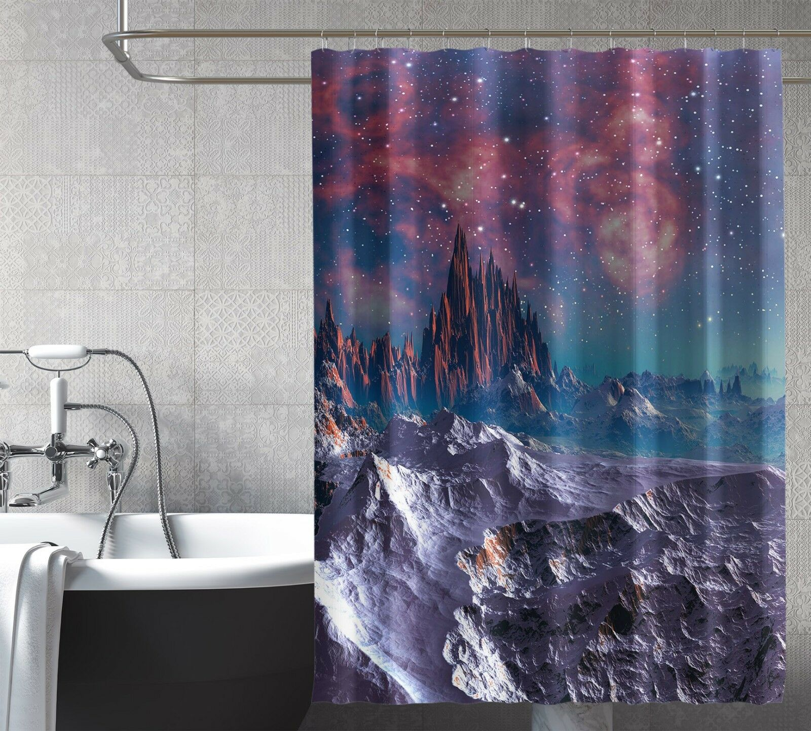 3D Starry Hills  8 Shower Shower Shower Curtain Waterproof Fiber Bathroom Home Windows Toilet 63f735