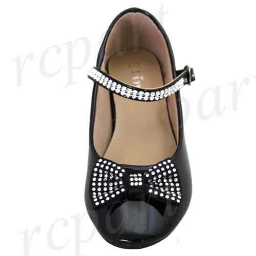 New girl/'s kids buckle closure black synthetic patent flower girl dress shoes
