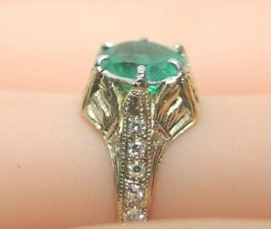 Colombian Emerald Engagement Ring Sz