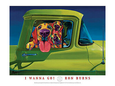 I Wanna Go! by Ron Burns Art Print Poster Dog Riding in Green Truck 24x18