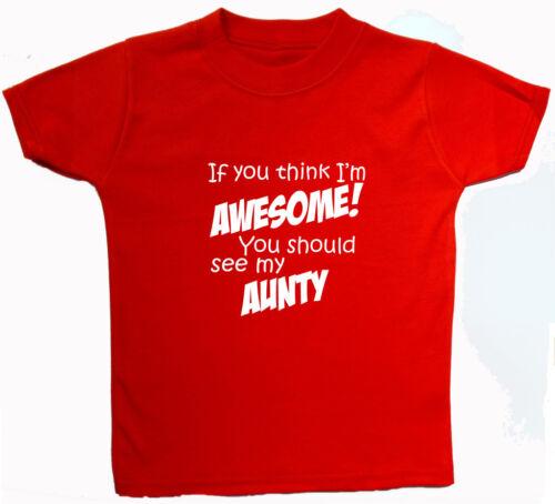 Bebé Niños S//Manga Camiseta//Top Recién Nacido Impresionante tía. 5-6yrs Chico Chica Regalo