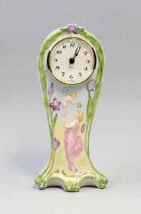9944215 Jugendstil Porzellan Uhr Mädchen Elfe handbemalt Kämmer H22cm