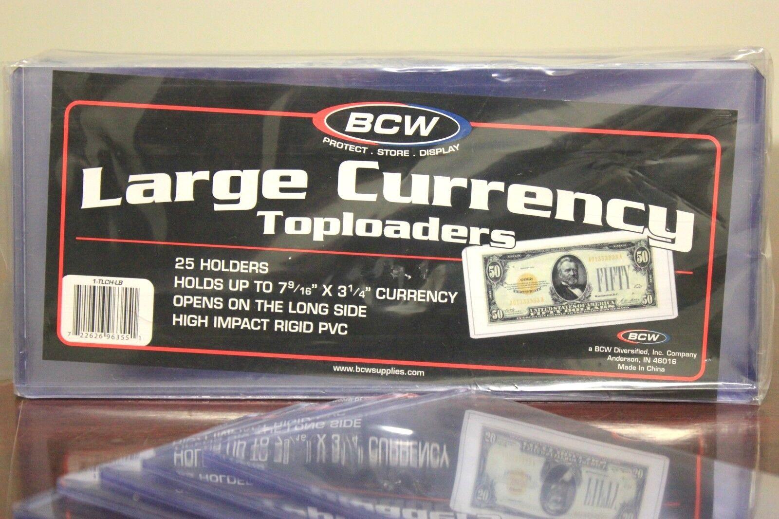 100 New Large Bill Top loader Currency Rigid Dollar Holder Storage QTY 100