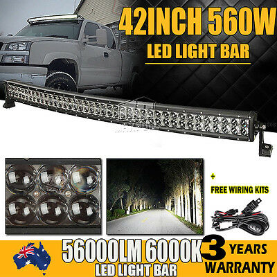"42inch 800W CURVED LED WORK LIGHT BAR SPOT&FLOOD OFFROAD PICKUP 4WD LAMP 40""/32"""