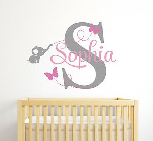 Details About Custom Elephant Erflies Name Wall Decal Baby Decor Nursery Sticker