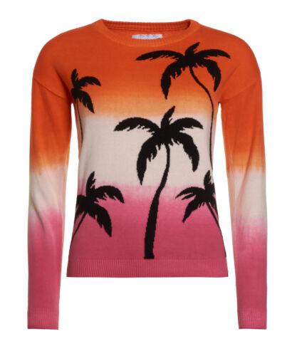 Neuer Damen Superdry Palm Dip Dye Crew Pulli Pink Sunset