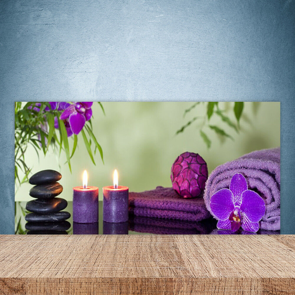 Cupboard kitchen glass wall panel art 100x50 stones candles napkins