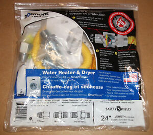 """WATER HEATER DRYER GAS LINE CONNECTION KIT SAFETY SHIELD 24/"""" THERMAL//FLOW VALVE"""