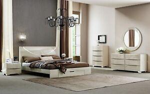 Nola King Queen Size Modern Beige Glossy Bedroom Set 5 Pcs Ebay