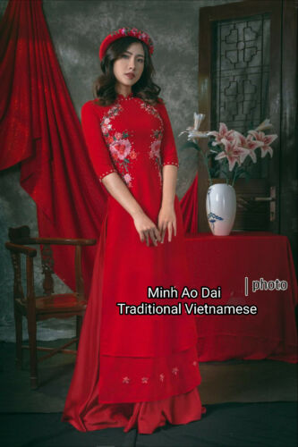 The Head Scarf Red Embroidered Flowers 4 Flap Handmade Ao Dai Vietnamese