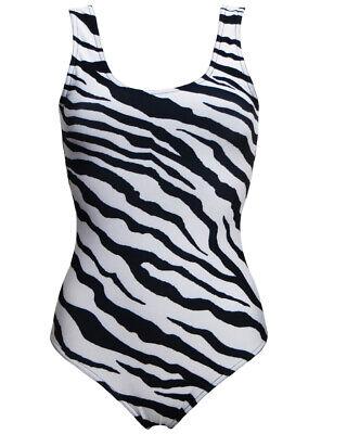 Funky Rainbow Bright Vertical Stripes Printed Swimsuit Costume Bodysuit Leotard