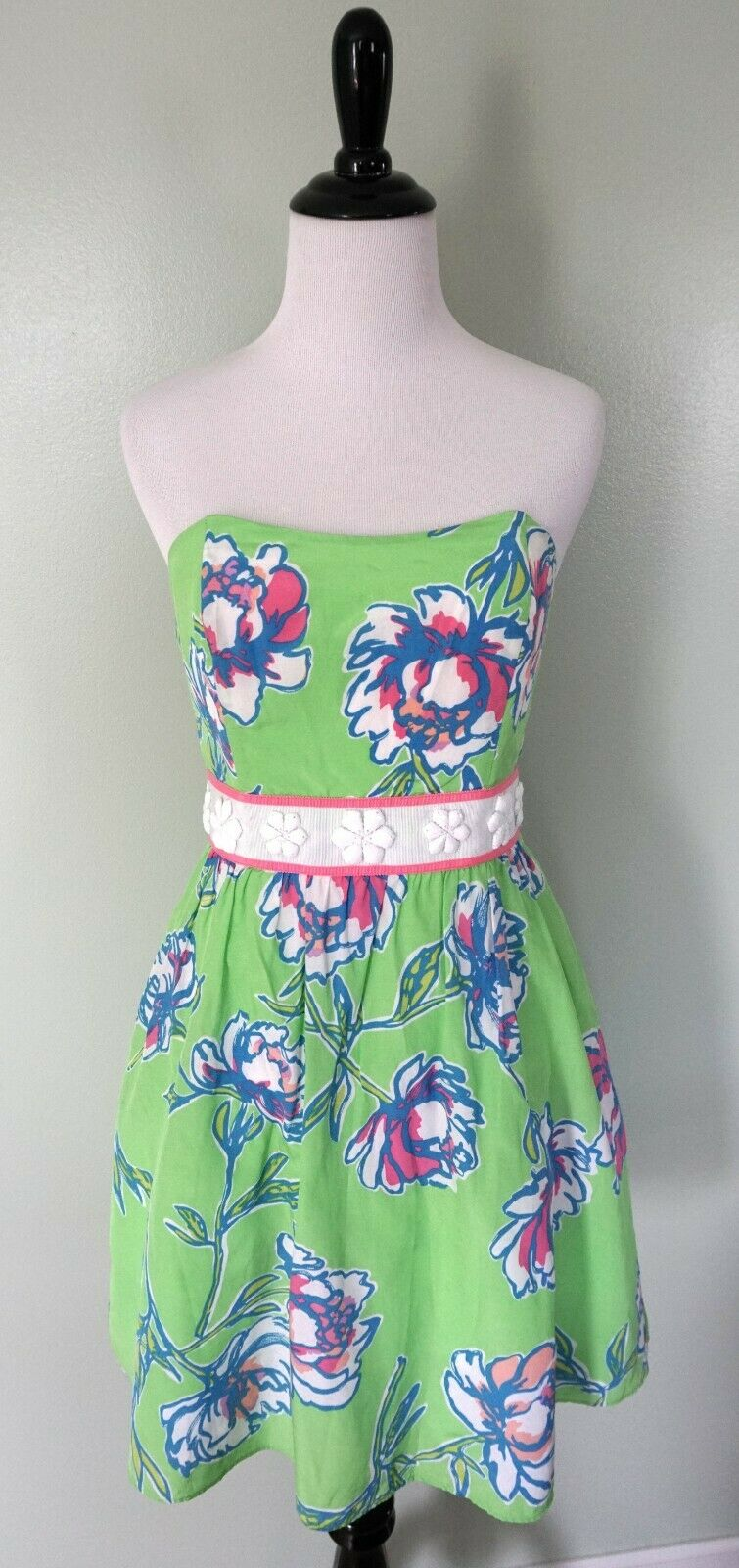 LILLY PULITZER Grün Rosa Weiß Floral Strapless Silk Cotton Sun Dress Größe 2