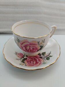 Colclough-Bone-China-England-Pink-amp-Yellow-Rose-Tea-Cup-amp-Saucer