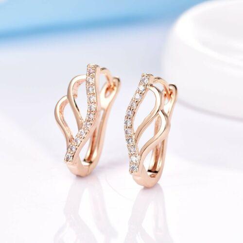 Conception unique Dazzling Blanc Cristal Saphir Or boucles d/'oreilles Créoles Pour Femmes