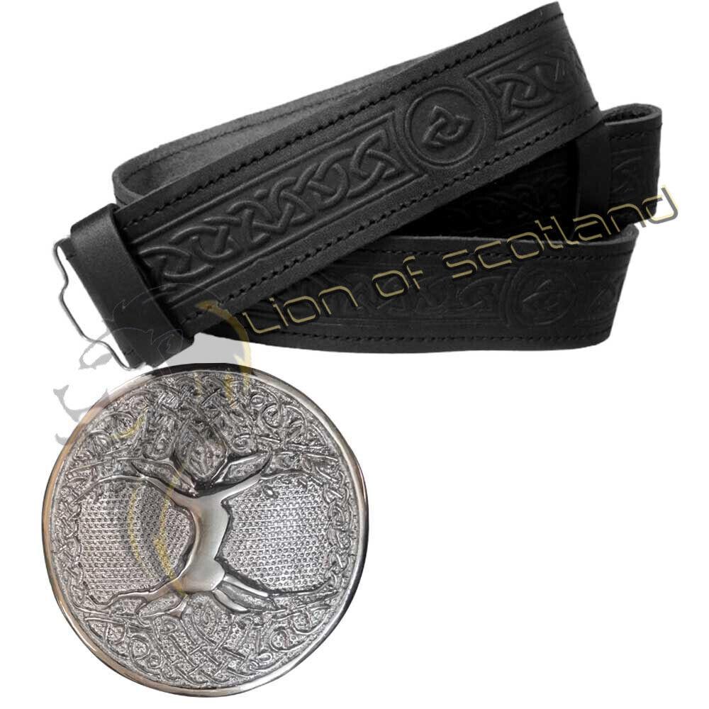 Scottish Kilt Belt Buckle Tree Life Chrome Celtic Embossed Belts Real Leather