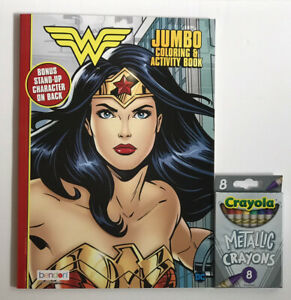 2-DC-Wonder-Woman-Gift-Set-Jumbo-Coloring-amp-Activity-Book-8-Metallic-Crayons