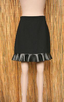Clothing, Shoes & Accessories Nice Sandro Jupe Noire Bordée D'un Volant Aspect Cuir Fin T2 = 36/38 Neuve Skirts