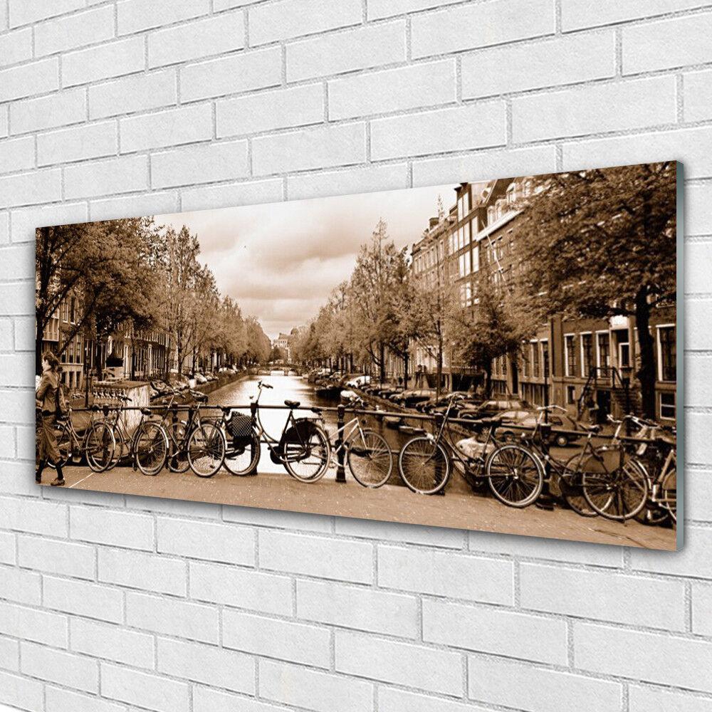 Verre Imprimer Wall Art Image 125x50 Photo River Bicyclettes Arbres Paysage
