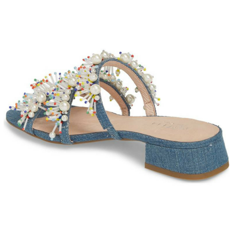 Denim Flat Sandals with with with Multi-colore Pearl Embellishment 0148ed