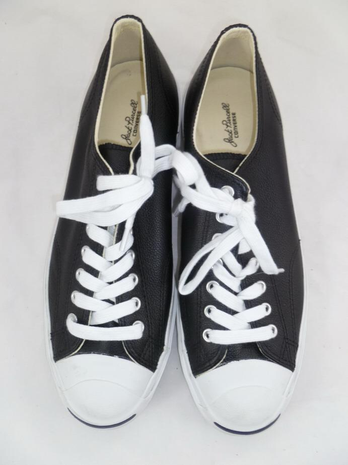 CONVERSE MEN -11/WOMEN-12.5 USED JACK PURCELL BLACK LEATHER OX SNEAKERS 1S962 JP