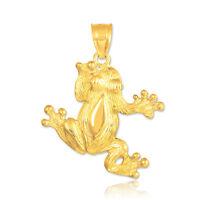 Solid 10k 14k Gold Frog Pendant