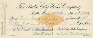 1900  BUTTE CITY WATER CO.,BUTTE,  MONTANA   REVENUE STAMP