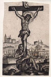 Christus-am-Kreuz-Jesus-Kruzifix-Stich-Antik-Andachtsbild-Heiligenbild-D-4445