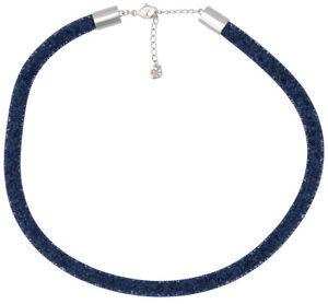 Swarovski-Stardust-Bleu-Fonce-Nylon-Tube-Cristal-Collier-Pour-Femme-5127503
