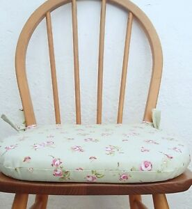 eBay & Details about Chair cushions in Rosebud. Foam seat cushion kitchen chair pad. Zipped covers.