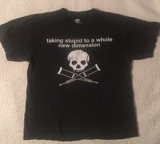 JACKASS Taking Stupid To A Whole New Dimension Skull Crutches t-shirt Large L