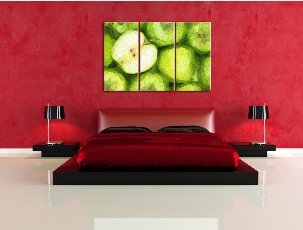 Mele verdi effetto pennello 3-Divisorio Tela Decorazione Decorazione Decorazione stampa d'arte a63704