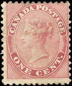 Mint-H-Canada-1859-1c-VG-F-Scott-14-Queen-Victoria-First-Cents-Issue-Stamp