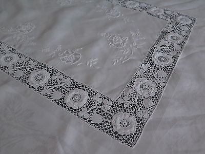Vtg Antique Irish Crochet Linen Damask Rose Custom Tablecloth Rare Exceptional