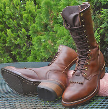 MENS VINTAGE ABILENE USA LEATHER PACKER WESTERN BOOTS Lace Up Kiltie Mens 7D