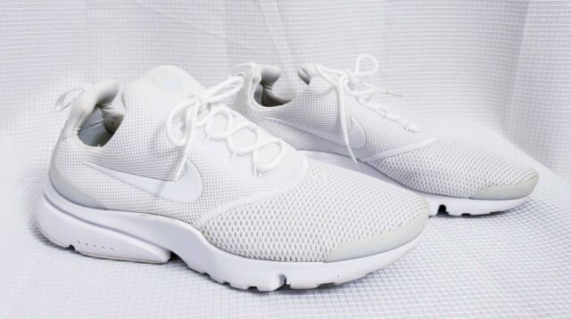 free shipping b8901 13e29 Nike Presto Fly Mens 908019-100 Triple White Flyknit Running Shoes size 9.5