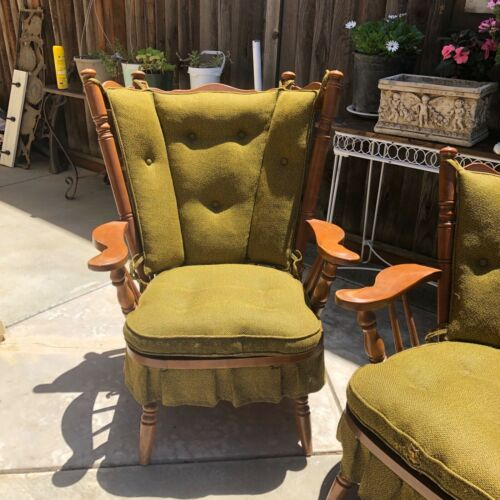 vintage wingback rocker chair Tell City furniture Maple original cover Indiana