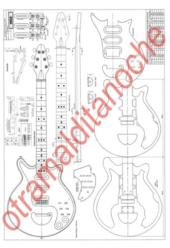 BRIAN MAY RED SPECIAL GUITAR PLANS FOR MAKE RARE YOUR OWN REPLIC REAL FULL SIZE