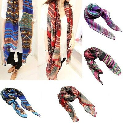 Fashion Bohemian Womens Girl Retro Voile Long Soft Wrap Shawl Beach Swim Scarf J