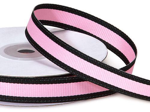 "Pink Black Stripe Grosgrain 5//8/"" Ribbon Crafts Hair Bows Holiday Valentine Gifts"