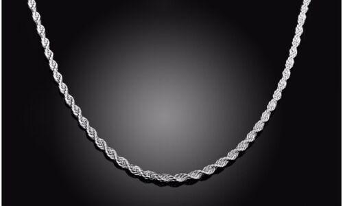 925 Argent Sterling Chaîne Collier Italie véritable solide bijoux toutes tailles Corde Chaîne