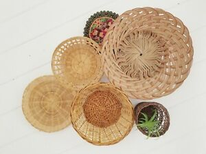 Details About Vintage Wicker Basket Wall Decor Rattan Baskets Set Of 6