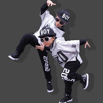 UK Street Dance Wear Costume Girls Performance Sequins ModernKids HipHop Clothes