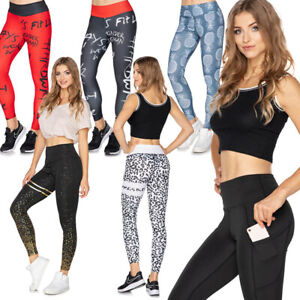 Womens-High-Waisted-Solid-Sports-Leggings-Tummy-Control-Scrunch-Booty-Pants-SM
