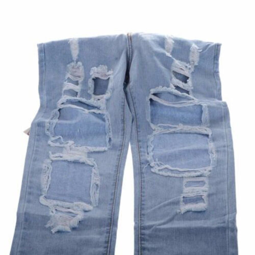 Womens Ladies Boyfriend Ripped Hole Jeans Casual Denim Pants Destroyed Trousers