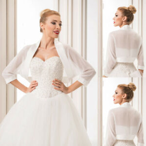 White-Ivory-Short-Bridal-Boleros-Jackets-Ladies-Wedding-Shrugs-Tops-Satin-Edge