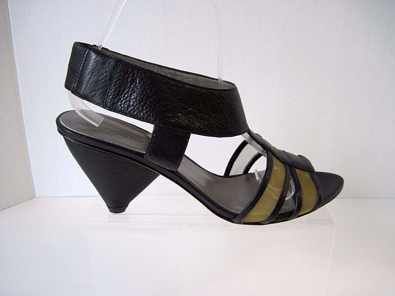 BOTKIER BLACK LEATHER AND GOLD MESH SANDALS, 3