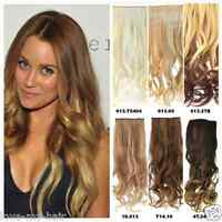 "22-24"" Thick Wavy Curly Blonde Brown Dip Dyed Ombre Clip In Hair Extensions"