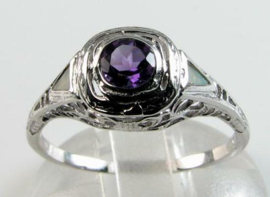 CLASS 9k 9CT WHITE gold AMETHYST AUS OPAL ART DECO INS FILIGREE RING FREE RESIZE