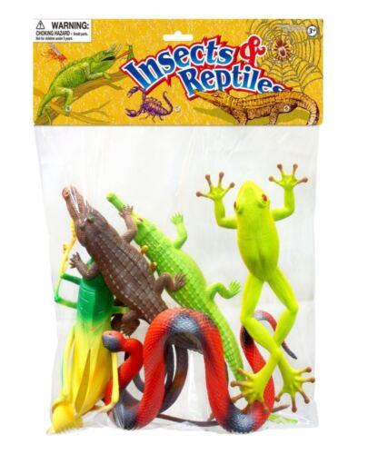 Borsa grande di insetti e rettili modello solido in plastica Figura Giocattolo per Bambini 6 PEZZI